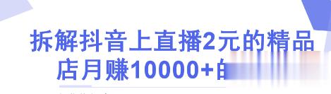 抖音2元店的赚钱玩法,抖音开直播样样都2块,轻松月赚10000+【视频教程】