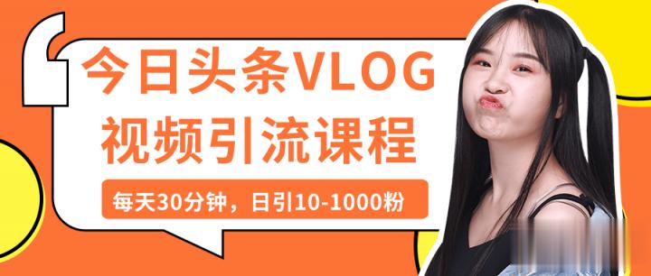 头条号,百家号,哔哩哔哩,等Vlog视频引流课程:每天30分钟,日引10-1000粉