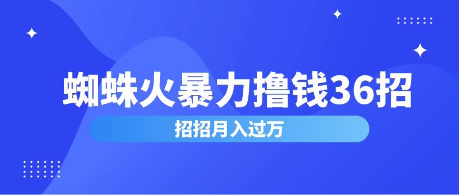 蜘蛛火暴力撸钱36招,招招月入过万,蜘蛛火赚钱项目价值2000元(完整版)