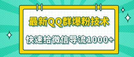 2020最新QQ群爆粉技术,快速给微信导流1000人技术【视频教程】
